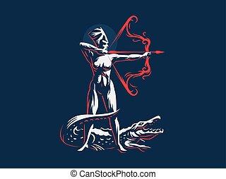 neith., 女神, crocodile., archer., エジプト人