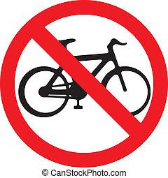 nej, cykel, underteckna, (no, cyklar, symbol)