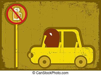nej, drive., vektor, affisch, dricka