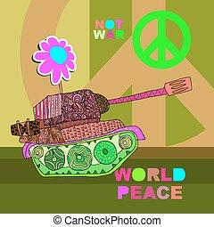 nej, krig, vykort, affisch