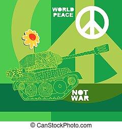 nej, krig, vykort, poster.
