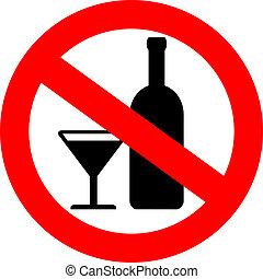 nej, vektor, alkohol, underteckna