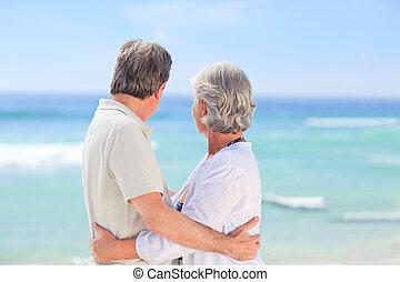 neki, feleség, átkarolás, ember, öregedő