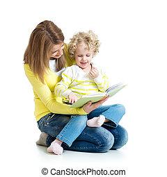 neki, fiatal, könyv, anyu, felolvasás, kölyök