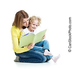 neki, fiatal, könyv, anyu, gyermek, felolvasás