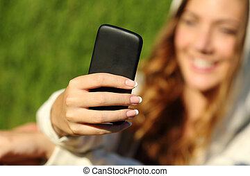neki, kéz, telefon, tizenéves, háttér, használ, leány, arc, furfangos