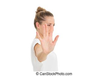 neki, kezezés kitart, fényképezőgép, feláll, nő