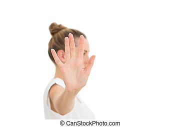 neki, kezezés kitart, fényképezőgép, nő