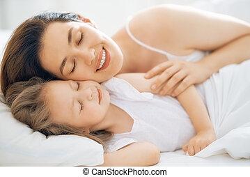 neki, napos, reggel, anya, leány, élvez