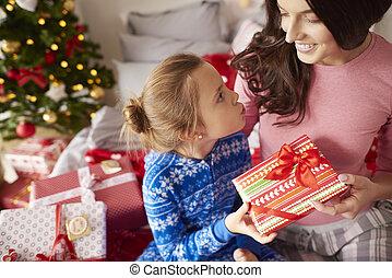 neki, odaad, anyu, leány, christmas ajándék