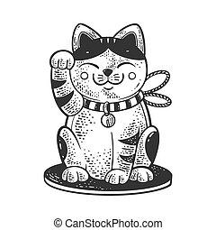 neko, japonés, ropa, camiseta, negro, mano, illustration., rasguño, maneki, bosquejo, imitation., grabado, image., impresión, gato, design., tabla, vector, blanco, dibujado