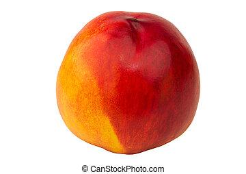 nektaryna, brzoskwinia, odizolowany, owoc, tło, biały