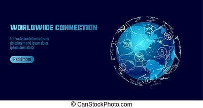 nelokální sí, connection., mapa světa, amerika, světadíl,...