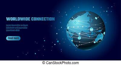 nelokální sí, connection., mapa světa, asia evropa, bod,...