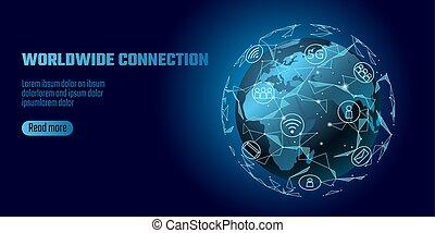 nelokální sí, connection., mapa světa, evropa, afrika,...