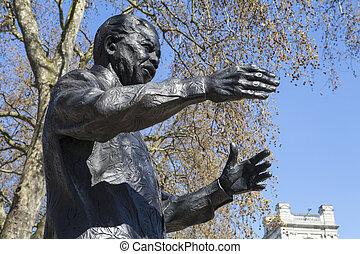 Nelson Mandela Statue in Parliament Square, London - A...