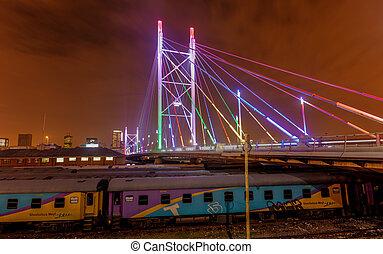 nelson, noche, puente, mandela