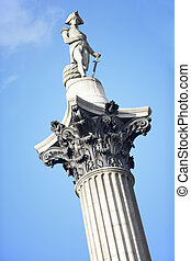 Nelson's Column In Trafalgar Square, London, England