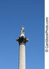 Nelson's column in Trafalgar Square of London, UK