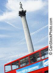 Nelson's Column In Trafalgar Square, London, England