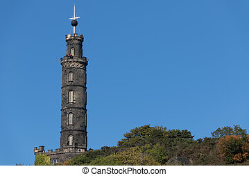 Nelsons Monument on Carlton Hill in Edinburgh Scotland. The...