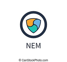 Nem Cryptocurrency Icon, Title Vector Illustration