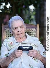 nem, játék, boldog, botkormány, nagyanyó