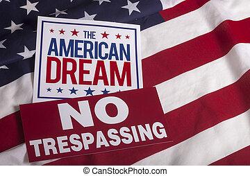 nem, lobogó, bennünket, aláír, amerikai, trespassing, álmodik