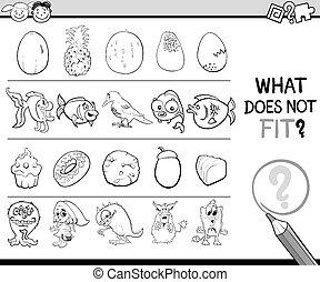 nem, mi, játék, egészséges, karikatúra