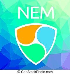 nem, xem, blockchain, monnaie, vecteur, logo, cripto