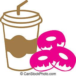 nemen, donuts, koffie, weg, kop