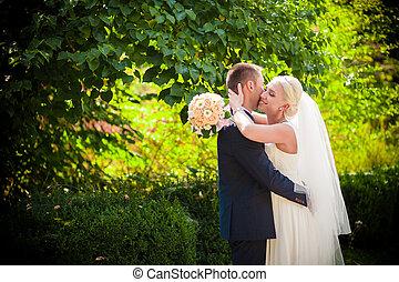 nemes, csókol, a, menyasszony inas