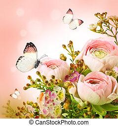 nemes, csokor, alapján, rózsaszín rózsa, és, lepke