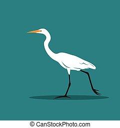 nemes kócsag, blue madár, kócsag, animals., háttér., vektor, tervezés, ardeidae), vagy, (ciconiiformes