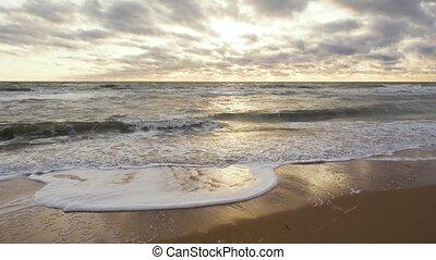 nemes, tengerpart, homokos, hosszú, lenget