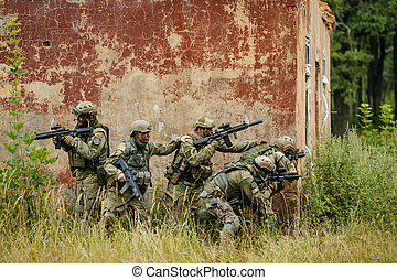 nemico, attacco, soldati, squadra