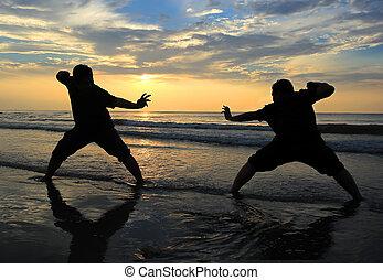 nemico, sole, quando, su, combattimento, salita, spiaggia