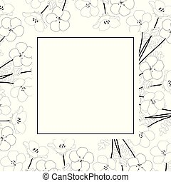 Nemophila Baby Blue Eyes Flower  Banner Card Outline