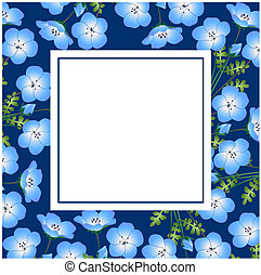 Nemophila Baby Blue Eyes Flower on Indigo Banner Card
