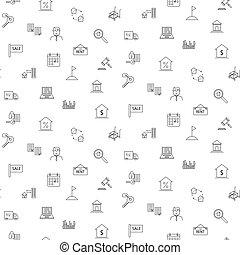 nemovitost, ikona, seamless, monochróm, pattern.