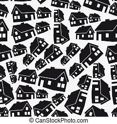 nemovitost, jednoduchý, ubytovat se, seamless, model, eps10