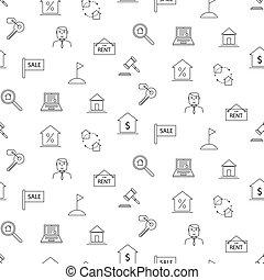 nemovitost, temný i kdy běloba, ikona, seamless, pattern.