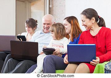 nemzedék, család, három, laptops