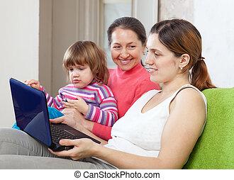 nemzedék, három, család, netbook