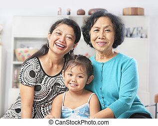 nemzedék, nők, három, ázsiai