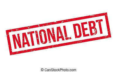 nemzeti, adósság, gumi bélyegző