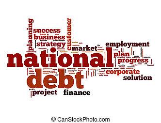 nemzeti, adósság, szó, felhő
