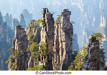 nemzeti, kína, zhangjiajie, erdő