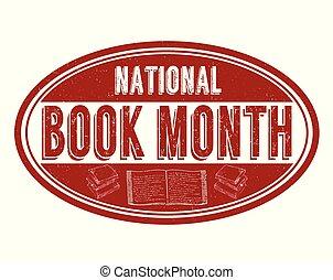 nemzeti, könyv, hónap, grunge, gumi bélyegző