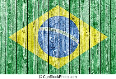nemzeti lobogó, közül, brazília, képben látható, öreg, fehér, erdő, háttér